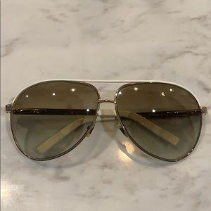 Gucci Aviator Sunglasses Gold/white